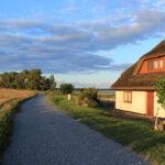von der Abendsonne angestrahltes Haus auf Hiddensee